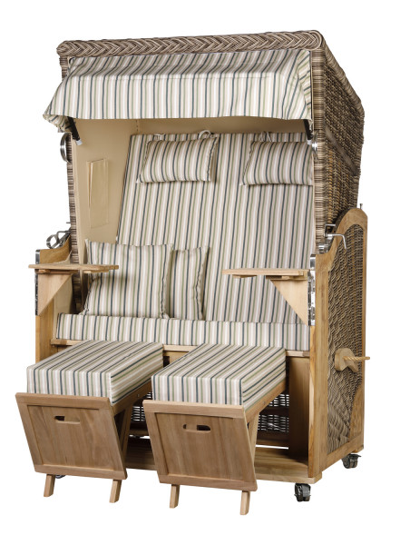 Akazienholz Strandkorb 2-Sitzer Volllieger SO-BE-Design 52