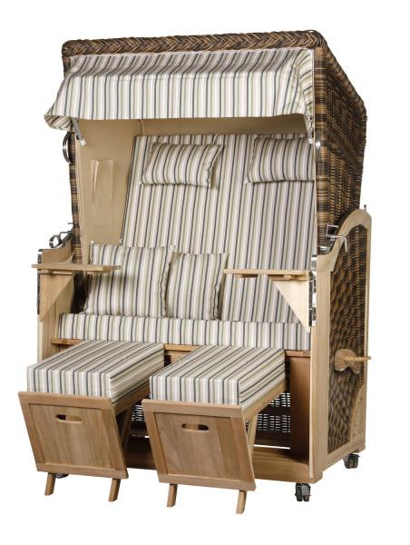 Akazienholz Strandkorb 2-Sitzer Volllieger CR-BE-Design 52