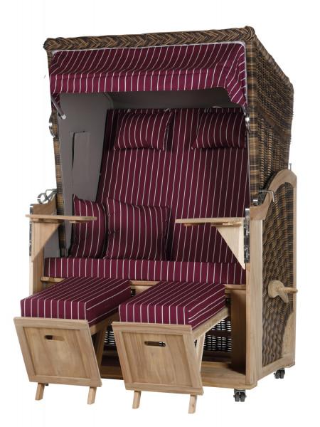 Akazienholz Strandkorb 2-Sitzer Volllieger CR-GR-Design 14