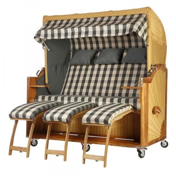 teak strandkorb kampen 3 sitzer grau kariert inkl viel zubeh r wodega wohnen deko garten. Black Bedroom Furniture Sets. Home Design Ideas