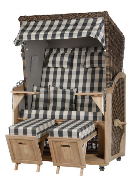 Akazienholz Strandkorb 2-Sitzer Volllieger CR-GR-Design 11