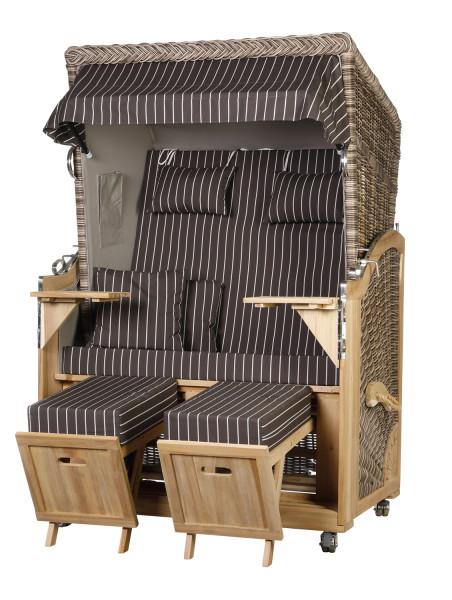 Akazienholz Strandkorb 2-Sitzer Volllieger SO-GR-Design 24