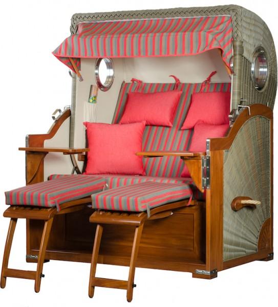 Mahagoni Strandkorb Baltikum 2,5 - Sitzer inkl Bullaugen Grau Pink gestreift