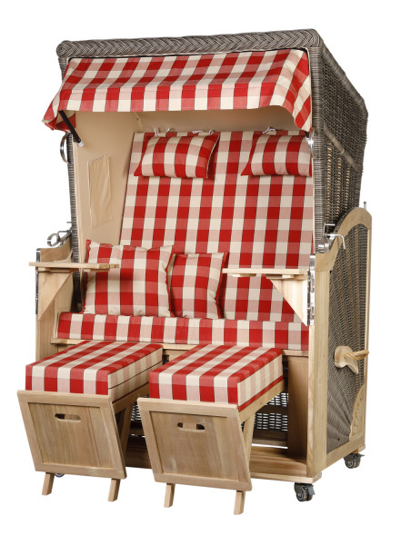Akazienholz Strandkorb 2-Sitzer Volllieger MO-BE-Design 50