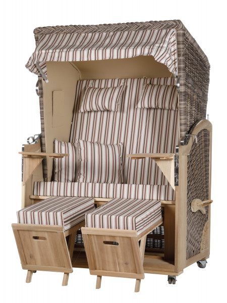 Akazienholz Strandkorb 2-Sitzer Volllieger SO-BE-Design 20