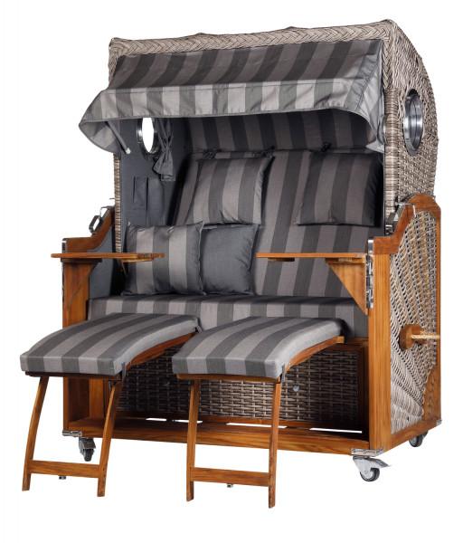 Teak Strandkorb Kampen Business 2,5 - Sitzer Grau Blockstreifen - Geflecht White Oak