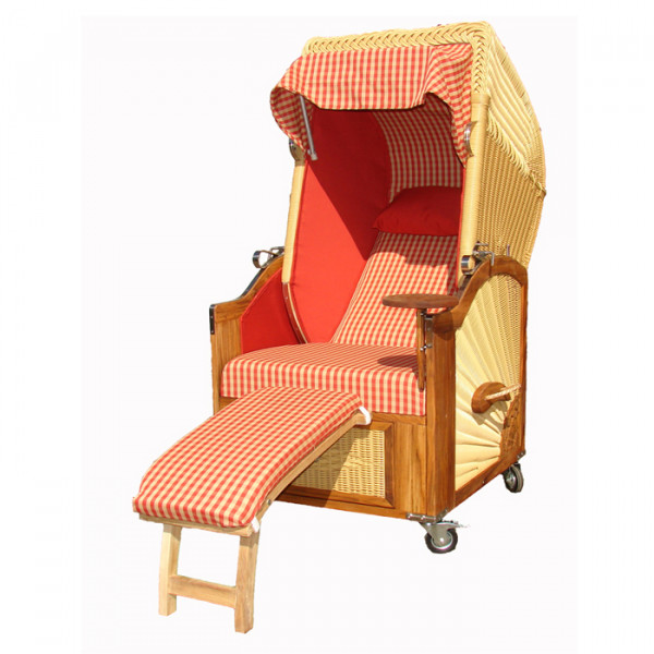 teak strandkorb list 1 sitzer rot kariert rattan hell wodega wohnen deko garten. Black Bedroom Furniture Sets. Home Design Ideas