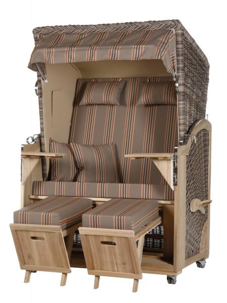 Akazienholz Strandkorb 2-Sitzer Volllieger SO-BE-Design 19
