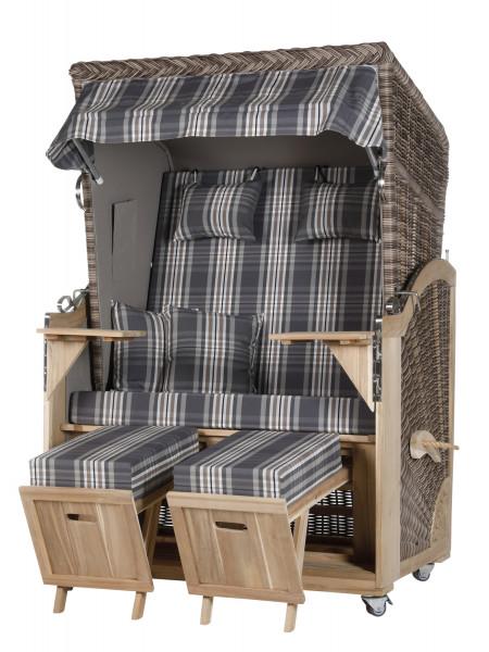 Akazienholz Strandkorb 2-Sitzer Volllieger SO-GR-Design 18