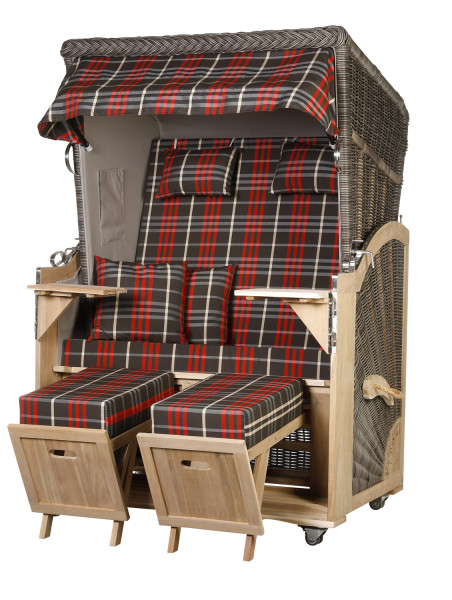 Akazienholz Strandkorb 2-Sitzer Volllieger MO-GR-Design 13
