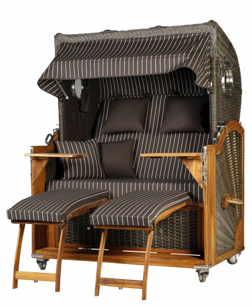 Teak Strandkorb Kampen Business 2,5 - Sitzer Royal Anthrazit - Geflecht Mokka