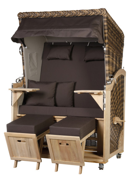 Akazienholz Strandkorb 2-Sitzer Volllieger CR-GR-Design 54