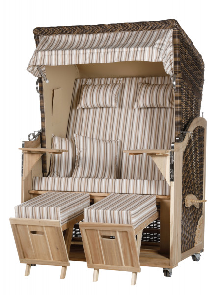 Akazienholz Strandkorb 2-Sitzer Volllieger CR-BE-Design 10