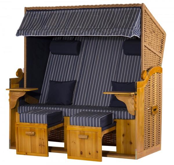 2,5 Sitzer XXL Ostseestrandkorb Blau Nadelstreifen Rattan Braun