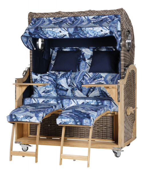 Teak Strandkorb Kampen Business 2,5 - Sitzer Jungle Blau - Geflecht Sonic
