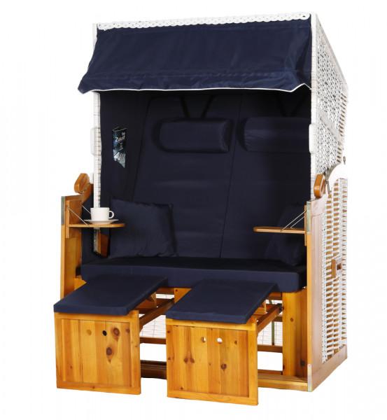 2 Sitzer Ostseestrandkorb Uni Blau Rattan Weiß