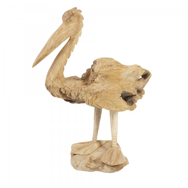 Teakholz Pelikan Skulptur Unikat Höhe ca. 60cm