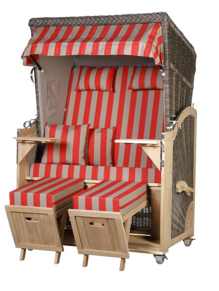 Akazienholz Strandkorb 2-Sitzer Volllieger MO-GR-Design 46