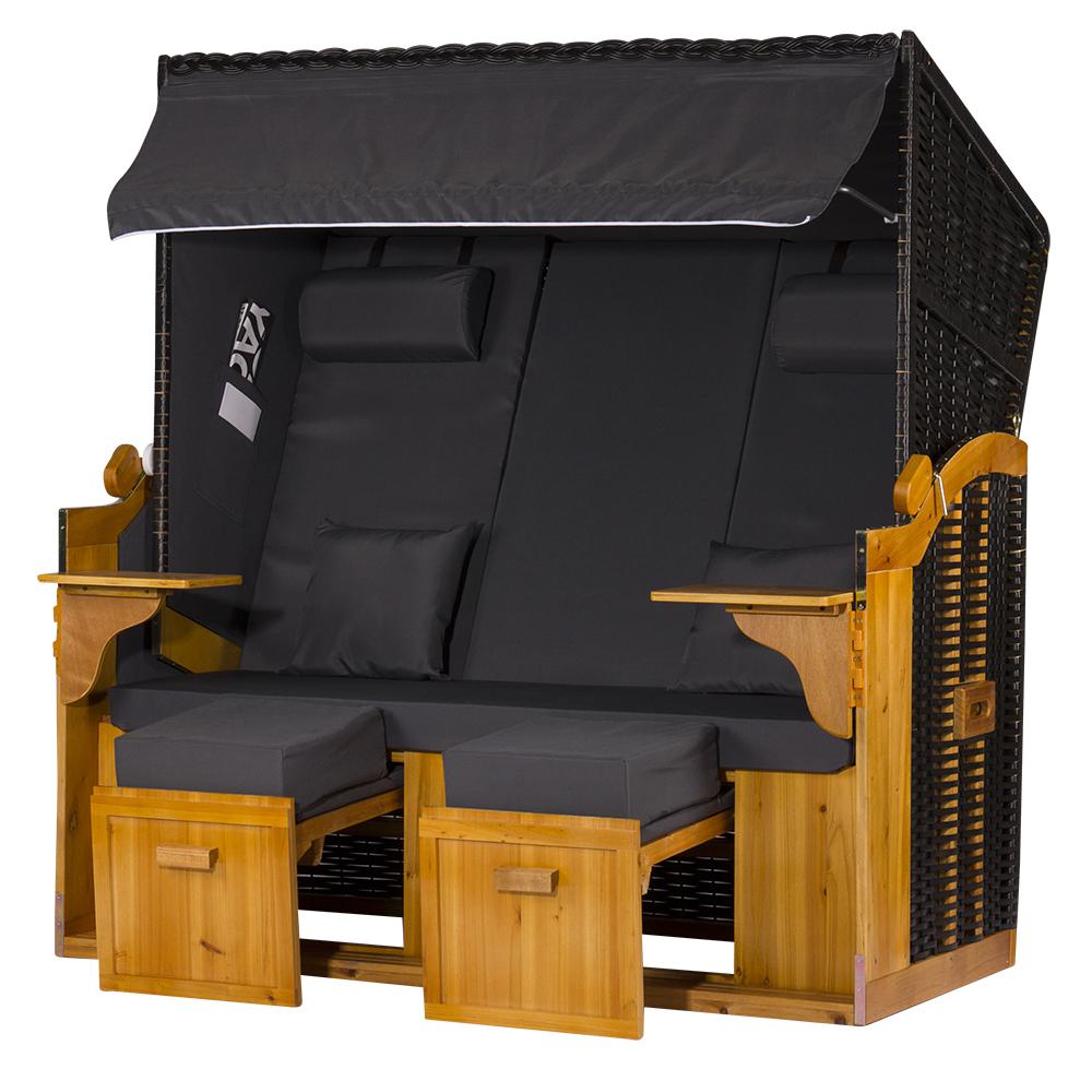 2 5 sitzer xxl ostseestrandkorb uni anthrazit rattan schwarz. Black Bedroom Furniture Sets. Home Design Ideas