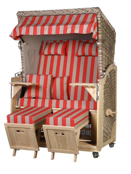 Akazienholz Strandkorb 2-Sitzer Volllieger SO-GR-Design 46