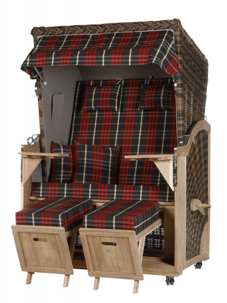 Akazienholz Strandkorb 2-Sitzer Volllieger CR-GR-Design 13