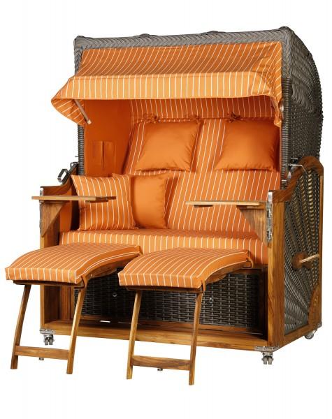 Teak Strandkorb Kampen Business 2,5 - Sitzer Orange Nadelstreifen Geflecht Mokka