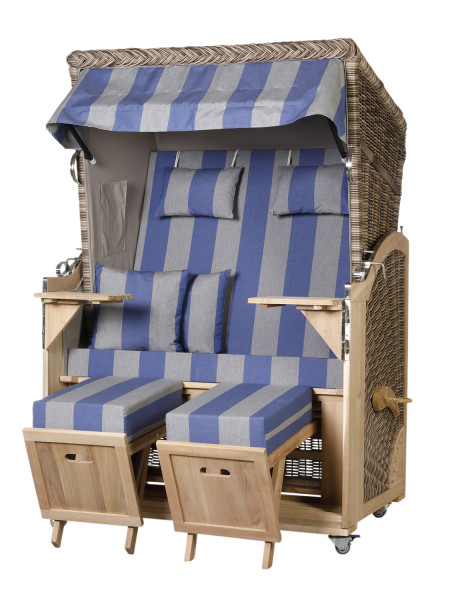 Akazienholz Strandkorb 2-Sitzer Volllieger SO-GR-Design 53