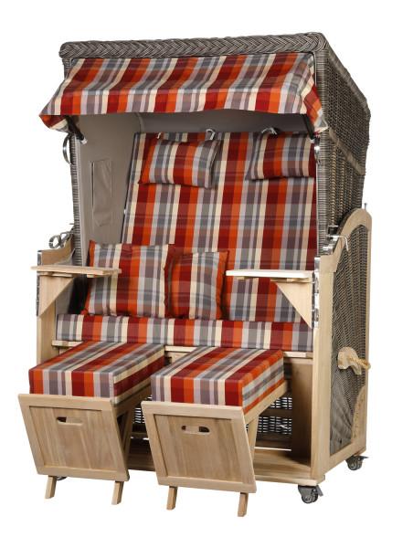 Akazienholz Strandkorb 2-Sitzer Volllieger MO-GR-Design 43