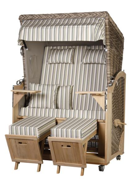 Akazienholz Strandkorb 2-Sitzer Volllieger SO-GR-Design 52