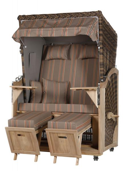 Akazienholz Strandkorb 2-Sitzer Volllieger CR-GR-Design 19
