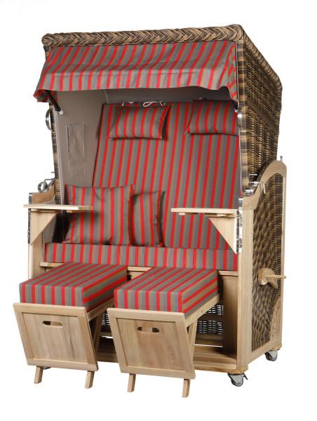 Akazienholz Strandkorb 2-Sitzer Volllieger CR-GR-Design 49