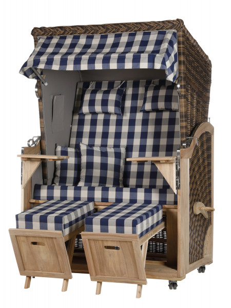 Akazienholz Strandkorb 2-Sitzer Volllieger CR-GR-Design 12