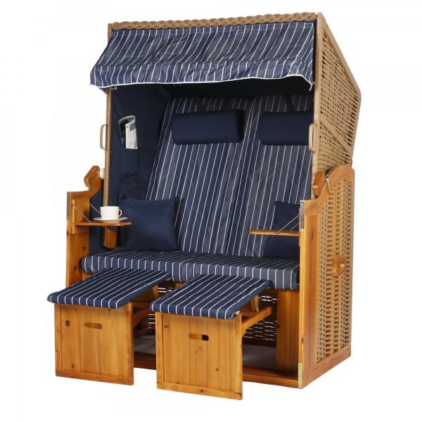 2 Sitzer Ostseestrandkorb Blau Nadelstreifen Rattan Braun