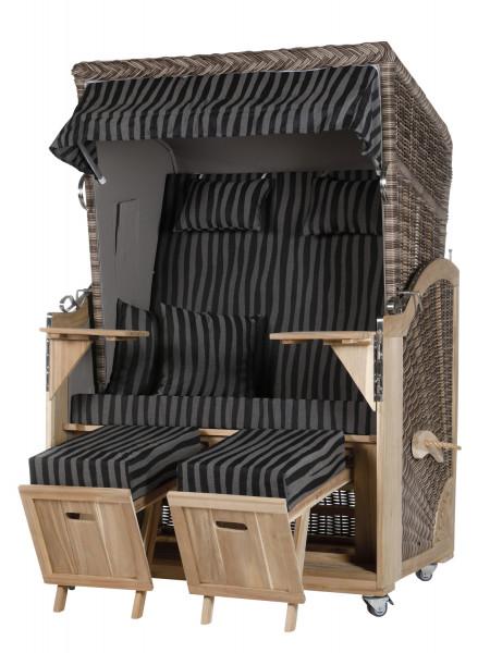 Akazienholz Strandkorb 2-Sitzer Volllieger SO-GR-Design 17