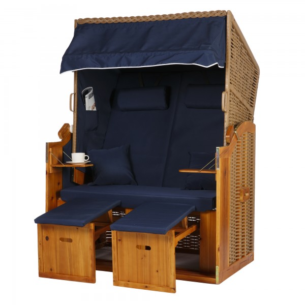 2 Sitzer Ostseestrandkorb Uni Blau Rattan Braun