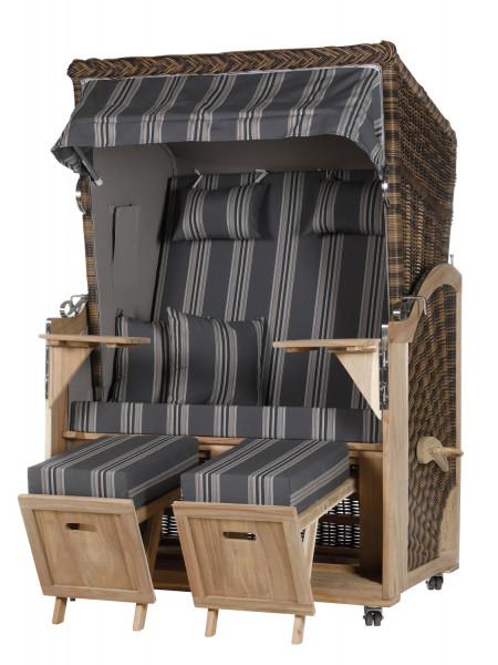 Akazienholz Strandkorb 2-Sitzer Volllieger CR-GR-Design 16