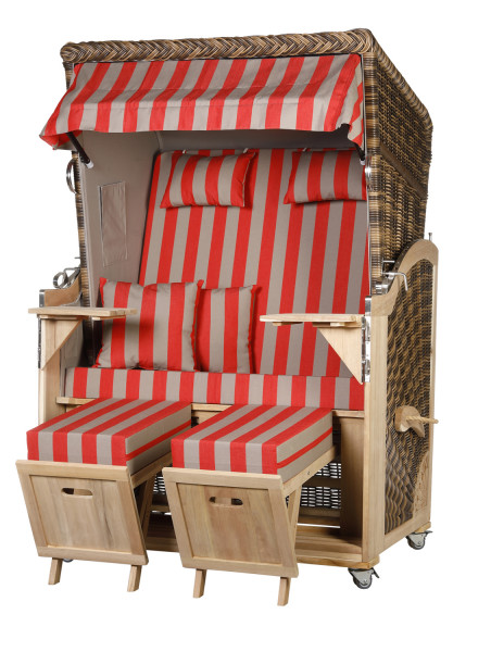 Akazienholz Strandkorb 2-Sitzer Volllieger CR-GR-Design 46