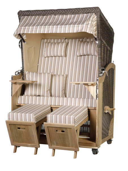 Akazienholz Strandkorb 2-Sitzer Volllieger MO-BE-Design 10