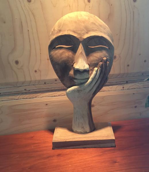 """Teakholz Skulptur """" reflexive """" Maske ca. 51cm hoch"""