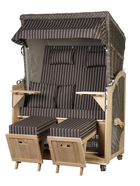 Akazienholz Strandkorb 2-Sitzer Volllieger MO-GR-Design 24