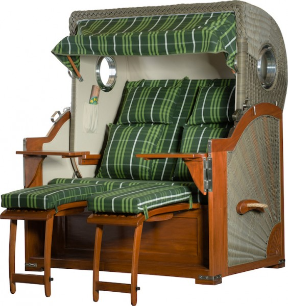 Mahagoni Strandkorb Baltikum 2,5 - Sitzer inkl Bullaugen Schottland Grün