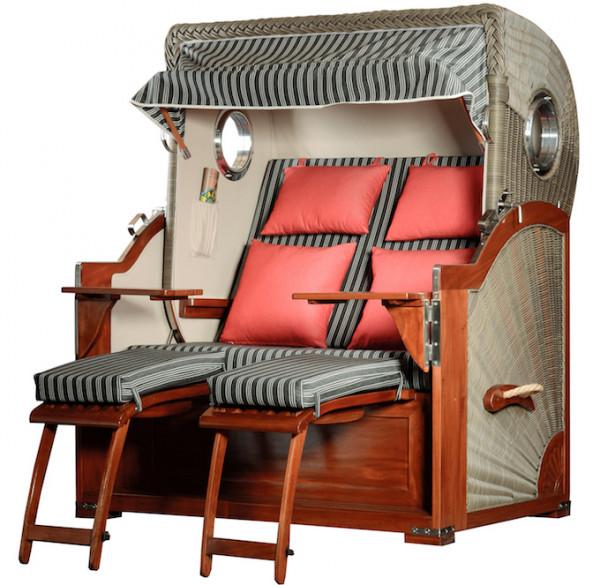 Mahagoni Strandkorb Baltikum 2,5 - Sitzer inkl Bullaugen Royal Anthrazit / Rot
