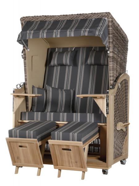 Akazienholz Strandkorb 2-Sitzer Volllieger MO-BE-Design 16