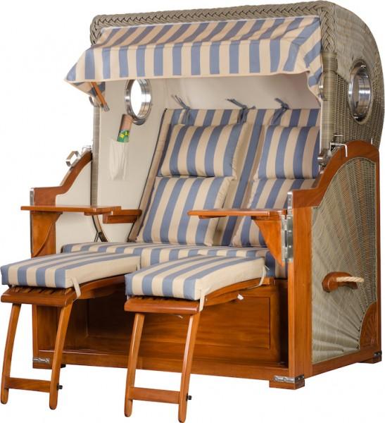 Mahagoni Strandkorb Baltikum 2,5 - Sitzer inkl Bullaugen Blau Beige gestreift