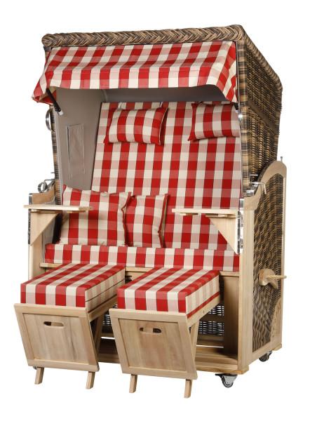 Akazienholz Strandkorb 2-Sitzer Volllieger CR-GR-Design 50