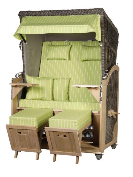 Akazienholz Strandkorb 2-Sitzer Volllieger MO-GR-Design 51