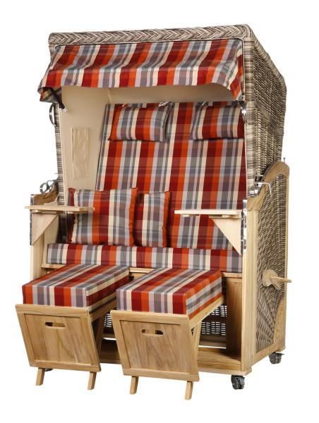 Akazienholz Strandkorb 2-Sitzer Volllieger SO-BE-Design 43