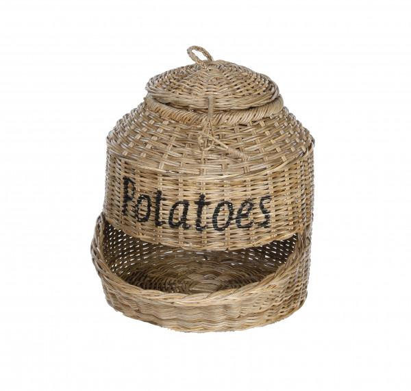 Kartoffelspender Kartoffelkorb aus Naturrattan