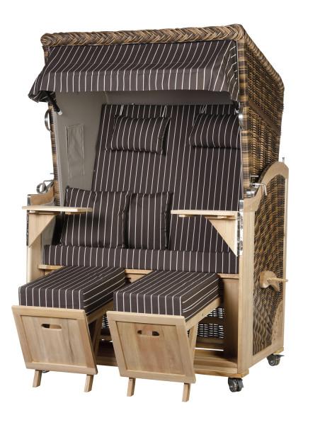 Akazienholz Strandkorb 2-Sitzer Volllieger CR-GR-Design 24