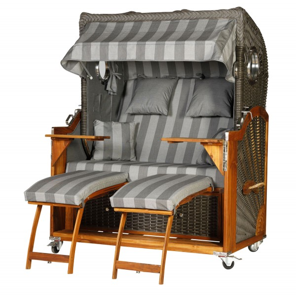 Teak Strandkorb Kampen Business 2,5 - Sitzer elegant Grau gestreift